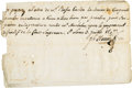 """Obsoletes By State:Missouri, (Upper Louisiana) - J. H. Hortiz Promissory Note to Rufus Easton for 50 Piasters """"in Peltry"""" St. Louis July 3, 1807. PCGS Very..."""