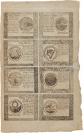 Colonial Notes:Continental Congress Issues, Continental Currency September 26, 1778 Uncut Full Sheet of$60-$50-$40-$30/$20-$8-$7-$5 Blue Counterfeit Detector Notes Fr.C...