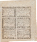 Colonial Notes:Continental Congress Issues, Virginia July 14, 1780 Uncut Full Sheet of $15-$10-$3-1/3/$20-$13-1/3-$6-2/3 Fr. VA-183-181-179/184-182-180. PCGS Extremely Fi...