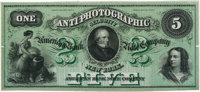 "New York, NY – American Bank Note Company ""Anti-Photographic Security 1-2-5"" Advertising Specimen Note Undated..."