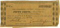 Obsoletes By State:Oklahoma, Tahlequah, Indian Territory (OK) -Cherokee Nation - Cherokee Nation Treasury Note 50 Cents June 18, 1862 Cr. CHR N-1, Burgett-...