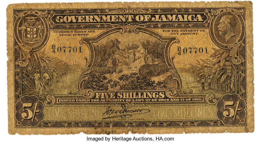 Jamaica - Government of Jamaica 5 Shillings Laws of 1904