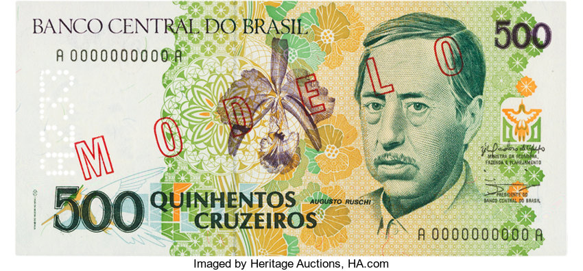 World Currency Brazil Banco Central Do Brasil 500 Cruzeiros Nd 1990 P