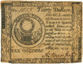 Colonial Notes:Continental Congress Issues, Continental Currency. May 10, 1775 $30 Newman 1.1 ContemporaryCounterfeit Fr. CC-10CF. PCGS Very Fine 20.. ...