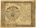 Colonial Notes:Continental Congress Issues, Continental Currency. April 11, 1778 Yorktown Issue $40 Newman 1.1 Contemporary Counterfeit Fr. CC-78CF. PCGS About New 50....