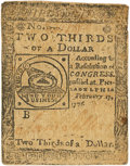 Colonial Notes:Continental Congress Issues, Continental Currency. February 17, 1776 $2/3 Newman 2.1Contemporary Counterfeit Fr. CC-22CF. PCGS Very Fine 25. . ...