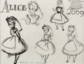 animation art:Model Sheet, Alice in Wonderland Alice Studio Model Sheet (Walt Disney,1951). ...