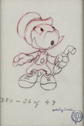 Animation Art:Production Drawing, Pinocchio Jiminy Cricket Animation Drawing with Courvoisier Stamp and Ward Kimball Autographed Print (Walt Disney, 194...
