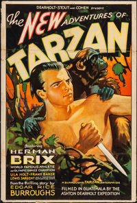"The New Adventures of Tarzan (Burroughs-Tarzan-Enterprise, 1935). Stock One Sheet (27"" X 41""). Serial"