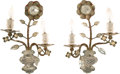 Decorative Arts, French:Lamps & Lighting, A Pair of Maison Bagues-Style Silvered Steel and Glass Two-LightSconces, circa 1960. 16 x 11 x 4 inches (40.6 x 27.9 x 10.2...(Total: 2 Items)