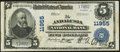 National Bank Notes:Alabama, Andalusia, AL - $5 1902 Plain Back Fr. 607 The Andalusia NB Ch. #11955 Fine-Very Fine.. ...