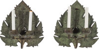 A Pair of Anglo-Indian Bronze Two-Light Leaf-Form Sconces, late 19th-early 20th century 14-3/8 x 13 x 3-3/4 inches