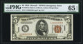 Small Size:World War II Emergency Notes, Fr. 2301 $5 1934 Mule Hawaii Federal Reserve Note. PMG Gem Uncirculated 65 EPQ.. ...