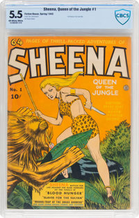 Sheena, Queen of the Jungle #1 (Fiction House, 1942) CBCS FN- 5.5 Off-white to white pages