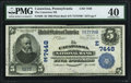 National Bank Notes:Pennsylvania, Catawissa, PA - $5 1902 Plain Back Fr. 598 The Catawissa NB Ch. # (E)7448 PMG Extremely Fine 40.. ...