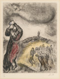 Fine Art - Work on Paper:Print, Marc Chagall (1887-1985). Pl. 71, from Bible, 1958. Etchingwith handcoloring on Arches paper. 12-3/4 x 9-3/4 inches (32...