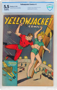 Yellowjacket Comics #1 (Charlton, 1944) CBCS FN- 5.5 Off-white pages