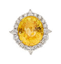 Estate Jewelry:Rings, Ceylon Yellow Sapphire, Diamond, Platinum, Gold Ring. ...