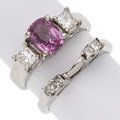 Estate Jewelry:Rings, Pink Sapphire, Diamond Platinum Rings. ... (Total: 2 Items)