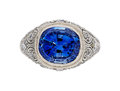Estate Jewelry:Rings, Art Deco Ceylon Sapphire, Diamond, Platinum Ring. ...