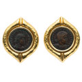 Estate Jewelry:Earrings, Ancient Coin, Gold Earrings, SeidenGang . ...