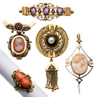 Victorian Multi-Stone, Freshwater Cultured Pearl, Gold, White Metal Jewelry