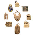 Estate Jewelry:Lots, Enamel, Gold Charms, English. ... (Total: 9 Items)