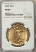 Saint-Gaudens Double Eagles, 1911 $20 AU58 NGC. NGC Census: (240/2487). PCGS Population: (308/2517). AU58. Mintage 197,250. ...