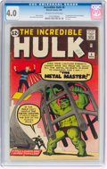 Silver Age (1956-1969):Superhero, The Incredible Hulk #6 (Marvel, 1963) CGC VG 4.0 Off-white to white pages....