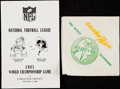 Football Collectibles:Publications, 1965 NFL Championship Game Media Guide & '62 Packers Napkin....