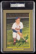 Autographs:Post Cards, 1988 Enos Slaughter Signed Perez-Steele Great Moments #29, PSA/DNA NM-MT 8....