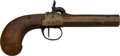 Handguns:Muzzle loading, Belgian Brass Boot Percussion Pistol....