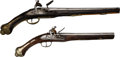 Handguns:Muzzle loading, Lot of Two Decoratively Carved Flintlock Pistols.... (Total: 2 Items)
