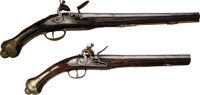 Lot of Two Decoratively Carved Flintlock Pistols