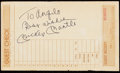 "Autographs:Letters, Mickey Mantle ""Best Wishes"" Signed Restaurant Guest Check...."