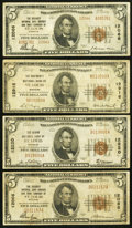 National Bank Notes:Missouri, Saint Louis, MO - $5 1929 Ty. 1 and $5 1929 Ty. 2 The Security NBSavings & TC Ch. # 12066 Very Good or Better; $5 1... (Total: 4notes)