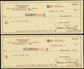 Autographs:Checks, James Stewart Signed 1981 Check Lot of 2 & Photograph.... (Total: 3 items)