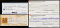 Autographs:Checks, 1978-90 Hockey Hall of Famers Signed Check Lot of 4 - Hull,Laprade, & Richard.... (Total: 4 items)