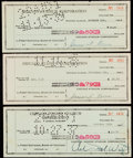 """Autographs:Checks, 1937-39 Norris & Wirtz """"Chicago Stadium Corp."""" Signed Check Lotof 3 - Hockey Hall of Famers.... (Total: 3 items)"""
