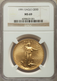 Four-Piece 1991 Gold Eagle Set MS69 NGC. The set includes the tenth-ounce $5; quarter-ounce $10; half-ounce $25; and o...