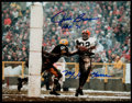 Autographs:Photos, Jim Brown Signed & Inscribed Oversized Photograph Lot of 2....