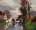 Paintings, Edouard-Léon Cortès (French, 1882-1969). Attelage à la sortie du village, circa 1950. Oil on panel. 18 x 21-3/4 inches (...
