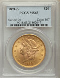 Liberty Double Eagles: , 1891-S $20 MS63 PCGS. PCGS Population: (1005/137). NGC Census: (530/72). CDN: $1,700 Whsle. Bid for problem-free NGC/PCGS M...