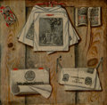 Paintings:Antique  (Pre 1900), Jacobus Plasschaert (Flemish, active 1739-1765). A trompe l'oeil still-life of documents and printed items on a wooden wal...