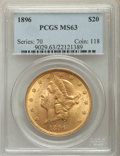 Liberty Double Eagles: , 1896 $20 MS63 PCGS. PCGS Population: (1228/202). NGC Census: (1629/192). CDN: $1,375 Whsle. Bid for problem-free NGC/PCGS M...
