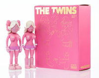 KAWS X Todd James The Twins (Pink) (two works), 2006 Painted cast vinyl 8 x 3 x 1-3/4 inches (20