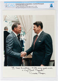 President Ronald Reagan: Personally Signed and Inscribed Color Photo of the Two Together Sent to Neil Armstrong Directly...