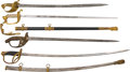 Edged Weapons:Swords, Lot of Four U.S. and European Officers' Swords.... (Total: 4 Items)