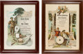 """Arms Accessories:Flasks, Schützenfest: Pair of German Color Lithograph Honorary Diplomas to Max Kubick From the Woschkow """"Fein Korn... (Total: 2 Items)"""