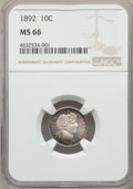 1892 10C MS66 NGC. NGC Census: (57/20). PCGS Population: (93/23). MS66. Mintage 12,121,245. From The Gary Verner Coll...